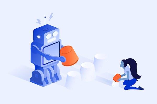 Girl and robot illustration