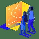 Two people looking at big orange screen
