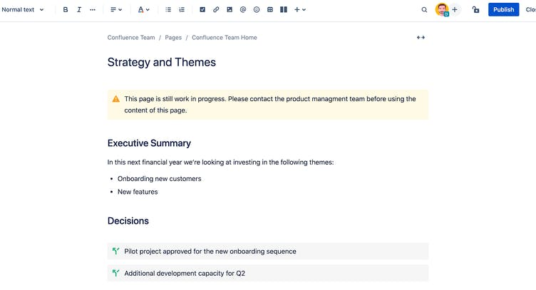 Screenshot of a Confluence page with highlighted content
