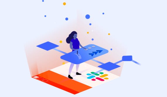 Illustration of a person using Workflow Steps for Jira App to navigate Slack's no-code Workflow Builder.