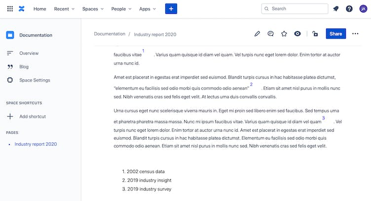 Example of footnotes on Confluence page