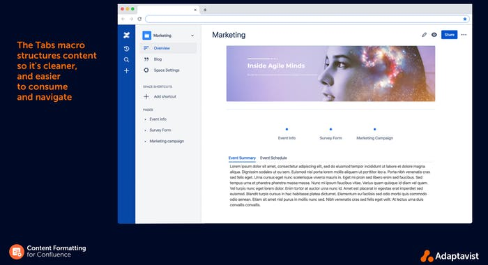 A visually appealing Confluence page using Tabs macro