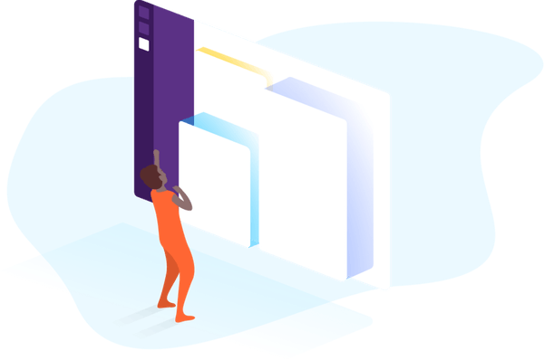 illustration of a figure using a slack interface