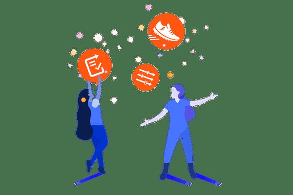Illustration of figures holding Adaptavist app icons
