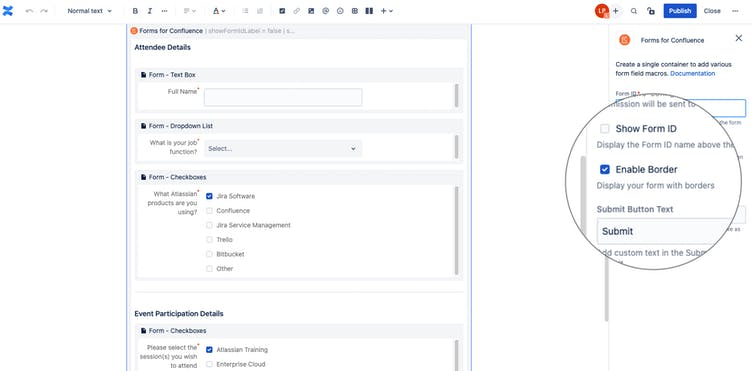 Screenshot of Forms for Confluence interface