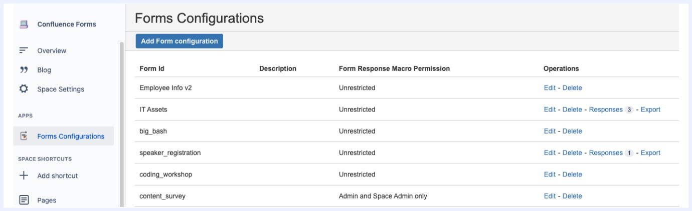 Screenshot of Confluence Forms screen
