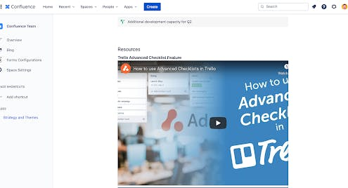 A Confluence page with an embedded YouTube video