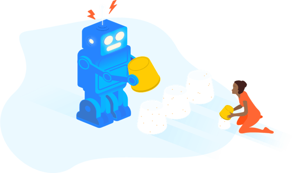 illustration of a robot and a figure building sand castles