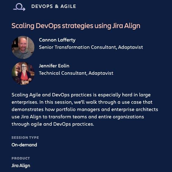 Scaling DevOps with Jira Align at Atlassian Team '21