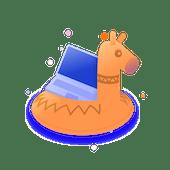 Illustration of a laptop on a llama pool float