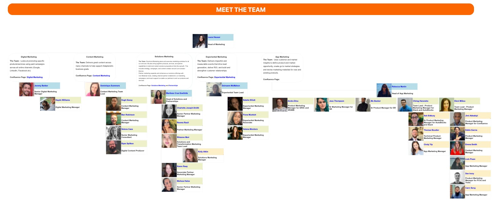 Screenshot of a company organisational chart, showing a map of profile photos and job titles
