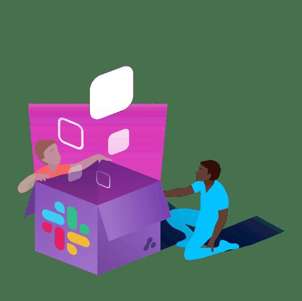 Image of people opening a Slack box from Adaptavist