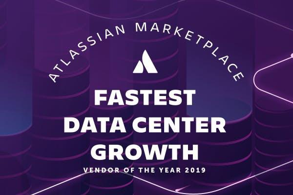 Data center background with award logo