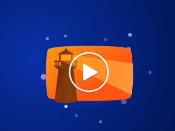 Blue background with orange lighthouse graphic and arrow in circle
