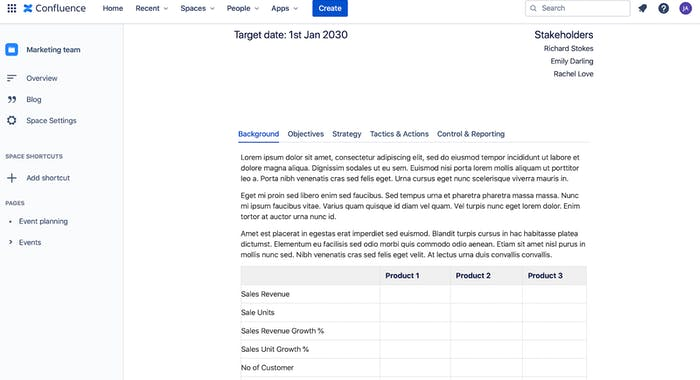 Confluence page segmented by Tabs macro