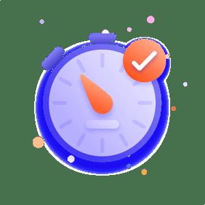 Clock and check-mark