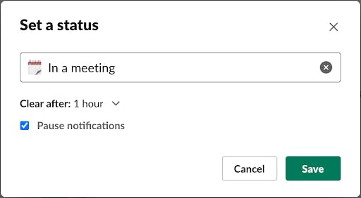 Set Slack status and update Slack notifications