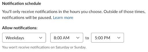 Slack notification schedule