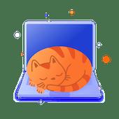 Illustration of a cat on a laptop