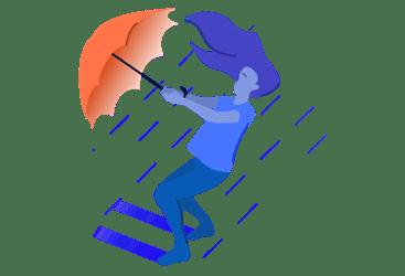 figure holding an umbrella