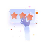 Illustration of a hand leaving a star rating