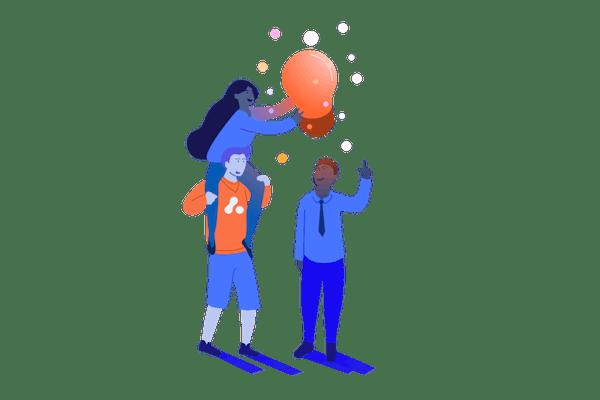 Illustration of figures holding a light bulb