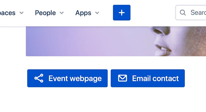 Confluence page with buttons