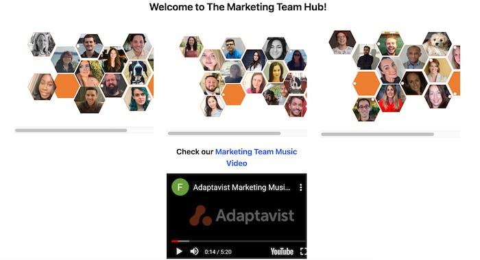 Screenshot of an internal marketing hub