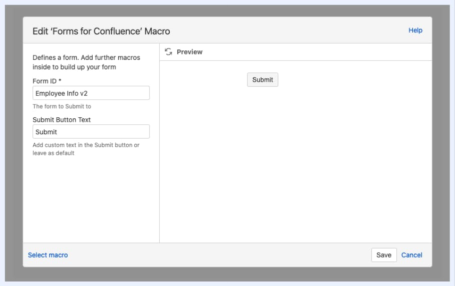 Screenshot of Forms for Confluence macro screen