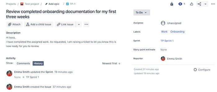 Screenshot of an open issue in Jira