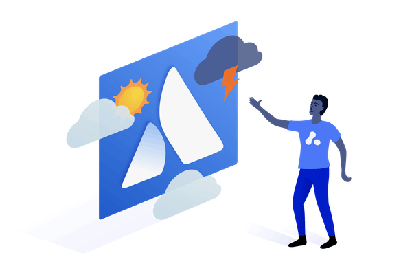man looking at weather report with Atlassian logo