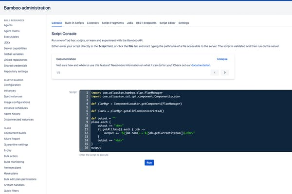 Product screenshot with console