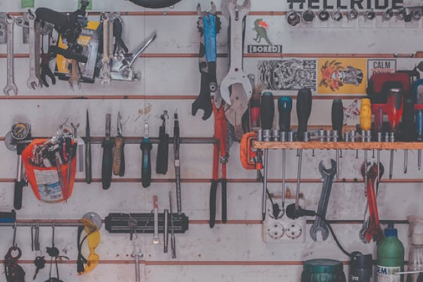 Tools hanging on a rack