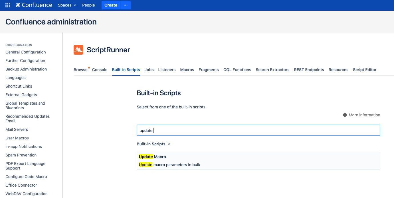 Update Macro built-in script in ScriptRunner for Confluence