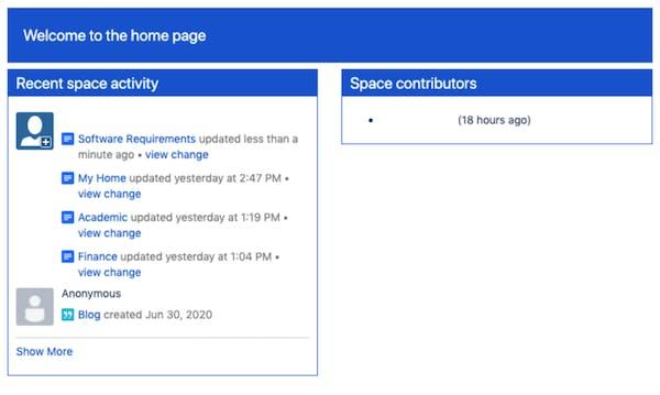 Screenshot of Confluence with a custom UI
