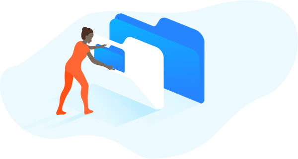 illustration of a figure using file folders