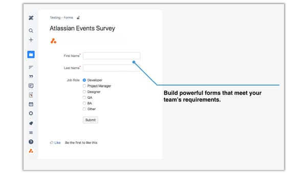 Form in Confluence with annotation