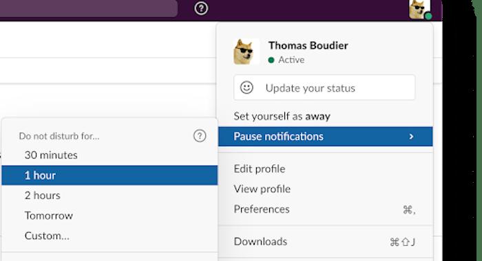 Pause Slack notifications screenshot
