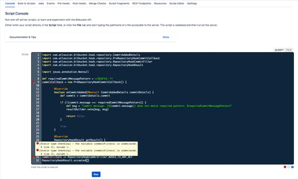 Screenshot of the script console in ScriptRunner for Bitbucket