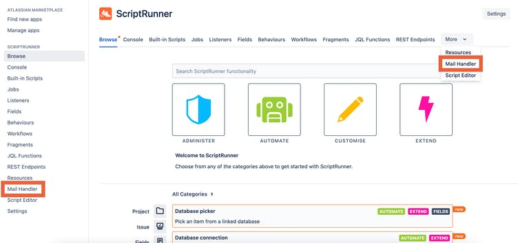 ScriptRunner for Jira's Mail Handler can now be found in both the left hand menu and the top menu, under 'More'