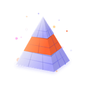 3D pyramid with middle highlighted