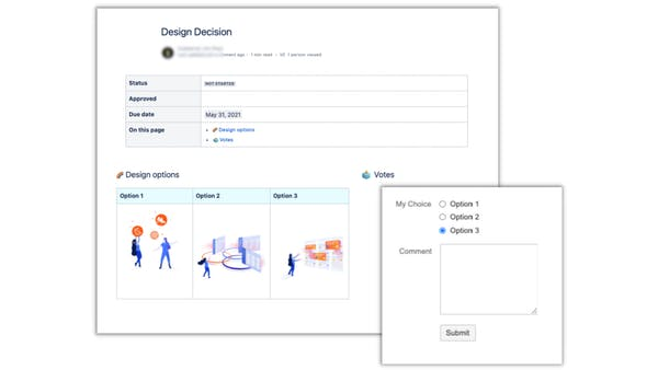 Form in Confluence with images