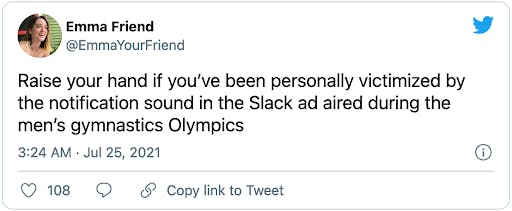 Slack notifications_Image from Twitter in response to Slack Olympics ad