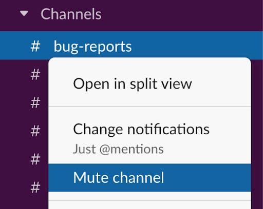 Mute channel Slack notifications
