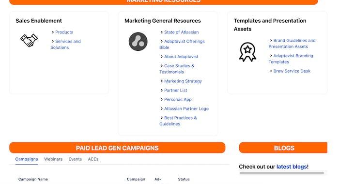 Screenshot of internal marketing hub