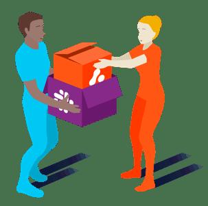 illustration of figures unpacking boxes of with slack and adaptavist logos