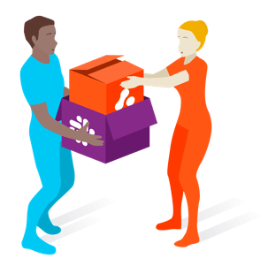 illustration of figures unpacking boxes of with slack and adaptavist logos