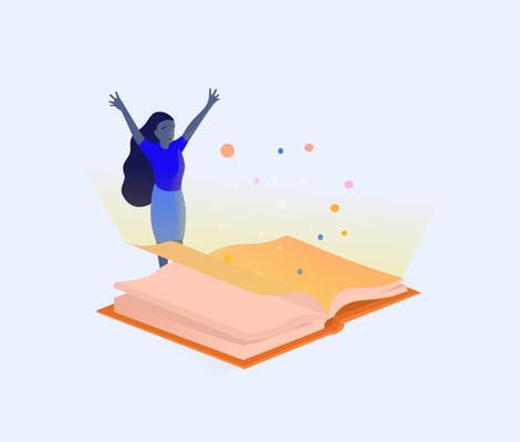 Woman celebrating in front of large orange book