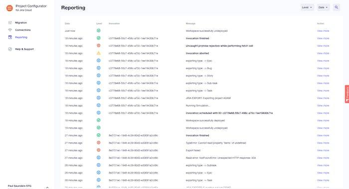 Project Configurator for Jira Cloud - Reporting Screen