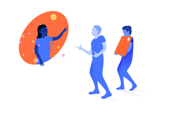 a person leaning out a bubble and helping two people out